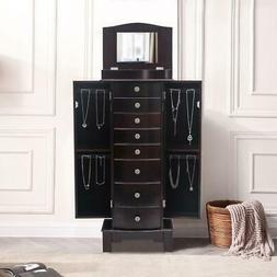 Wooden Jewelry Cabinet 8 Drawers Armoire Box Storage Chest S