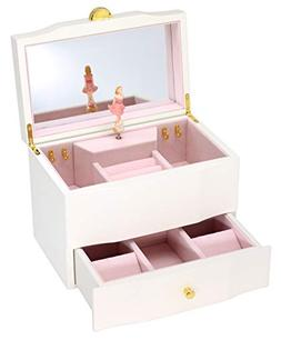 Attii Wooden Musical Jewelry Box for Girls with Drawer and L