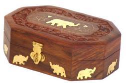 Wooden Jewelry Box Octagonal Handcrafted Elephant Brass Inla